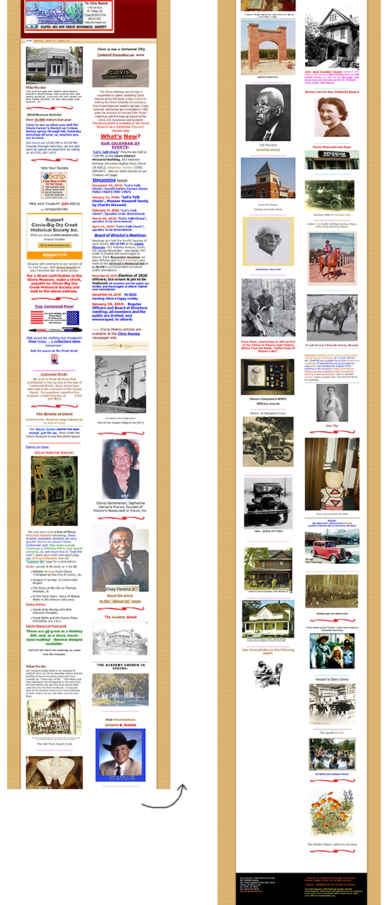 The existing Clovis museum homepage we redesigned