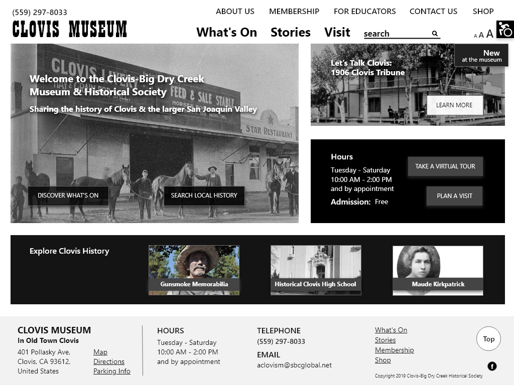 The prototype of the homepage - Clovis Museum website