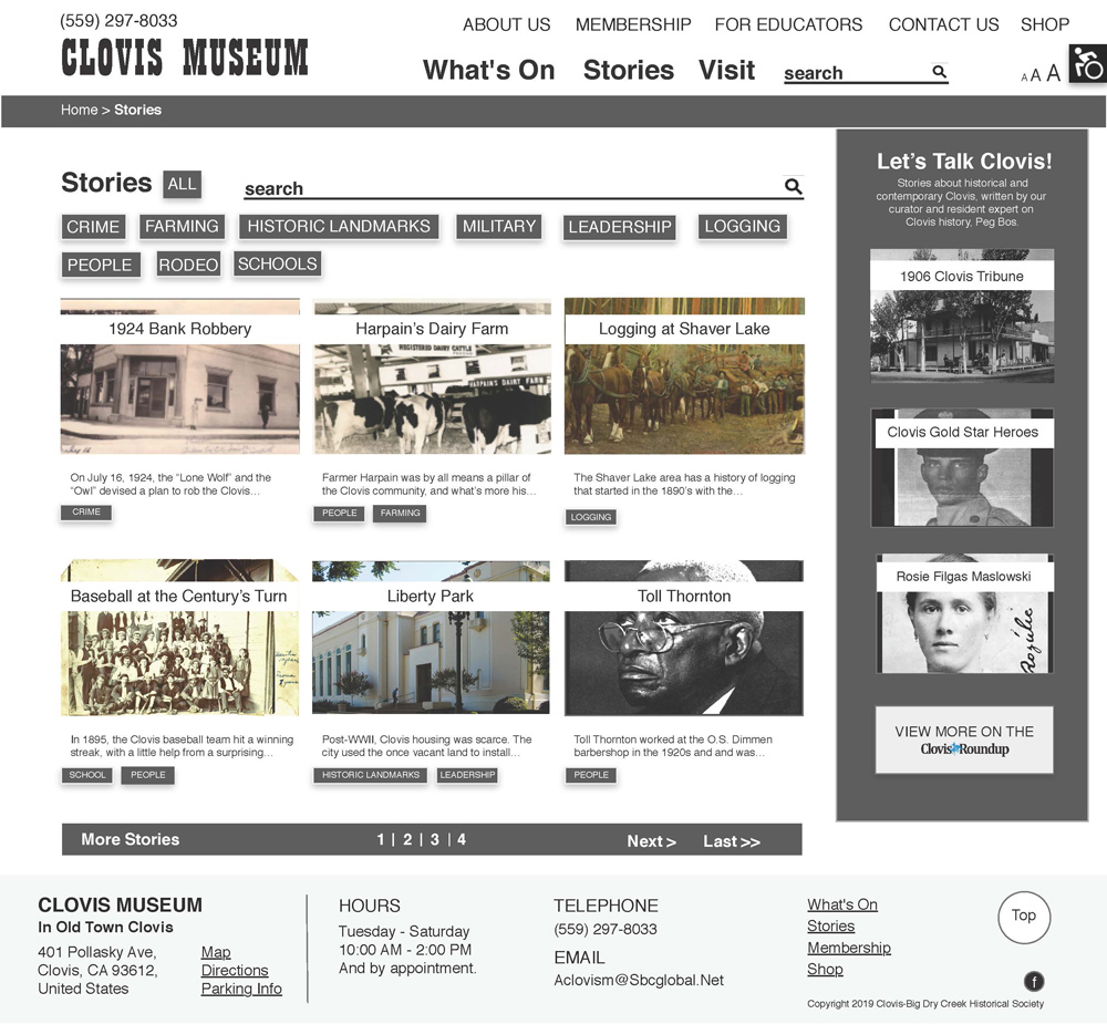 A prototype of the Stories page for the Clovis Museum website