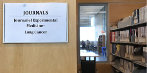 Signage in the stacks of a cancer library