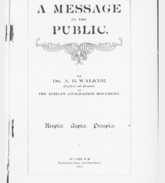 an image of the cover page of Walker, A. (1905). A message to the public