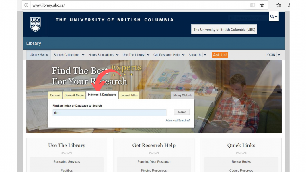 UBC library homepage showing where to search for databases