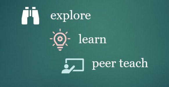 Explore - learn - peer teach graphic