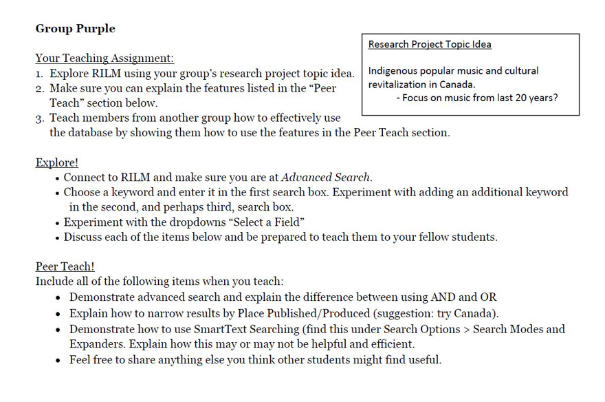 Activity handout for team purple explaining each stage: instruction, explore, and peer teach